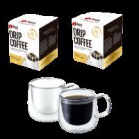 Kit 2 Drip Coffee e 2 Xicaras Vidro
